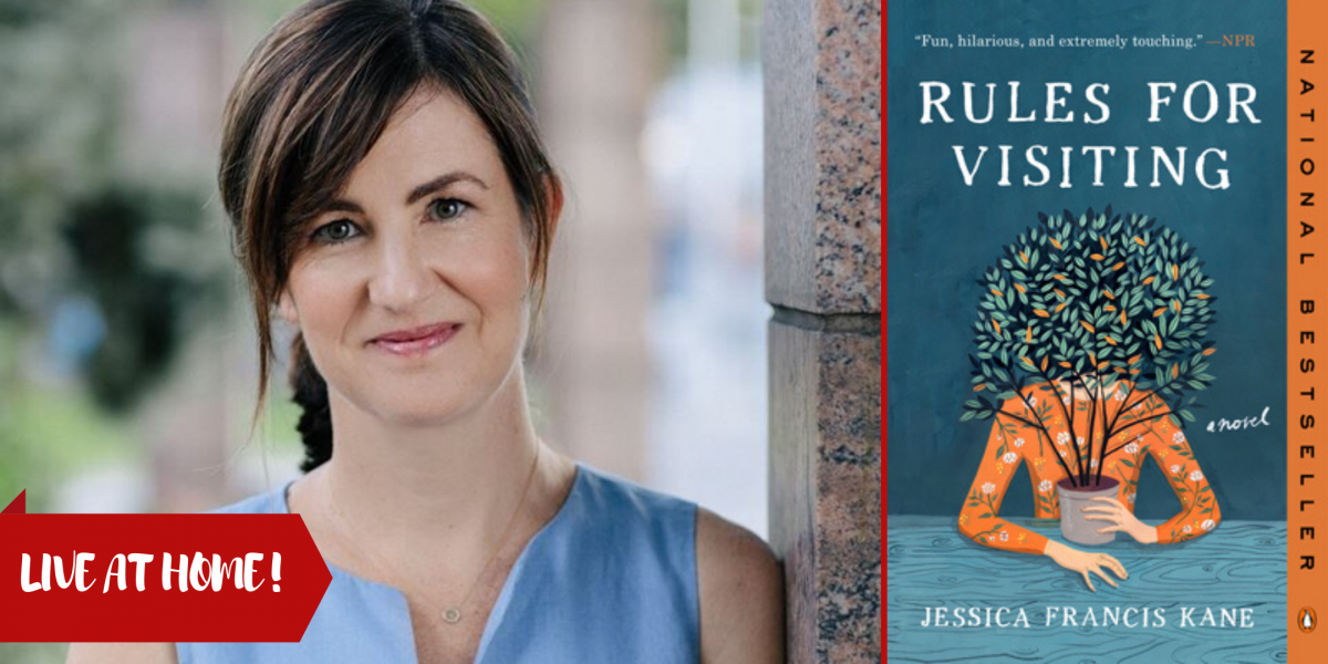 photograph of author Jessica Francis Kane and the cover of her novel Rules for Visiting