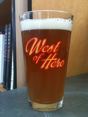 Rakestraw's beer glass in celebration of West of Here by Jonathan Evison.